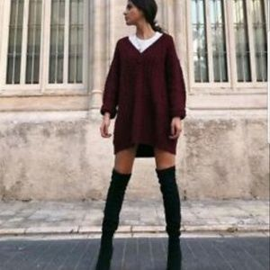 Zara Oversized Burgundy V-Neck Sweater